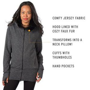 Betabrand Knockout Travel Hoodie Gray I24